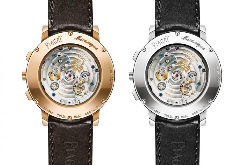 The back of the pink gold and the white gold Piaget Altiplano Chronograph.