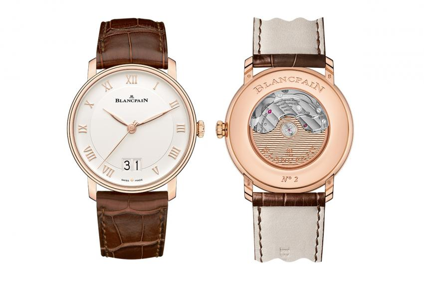 The front and the back of the Blancpain Villeret Grande Date.