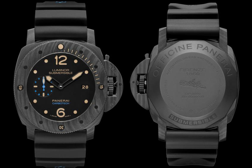 The front and the back of the Officine Panerai Luminor Submersible 1950 Carbotech (PAM00616)
