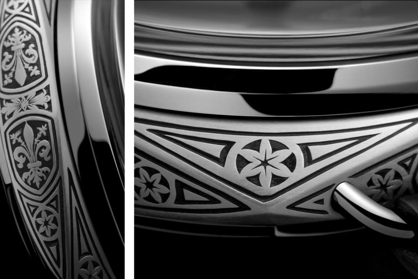 Close-up details of the engraving on the Panerai Radiomir Firenze 3 Days Acciaio - 47 mm (PAM00604)