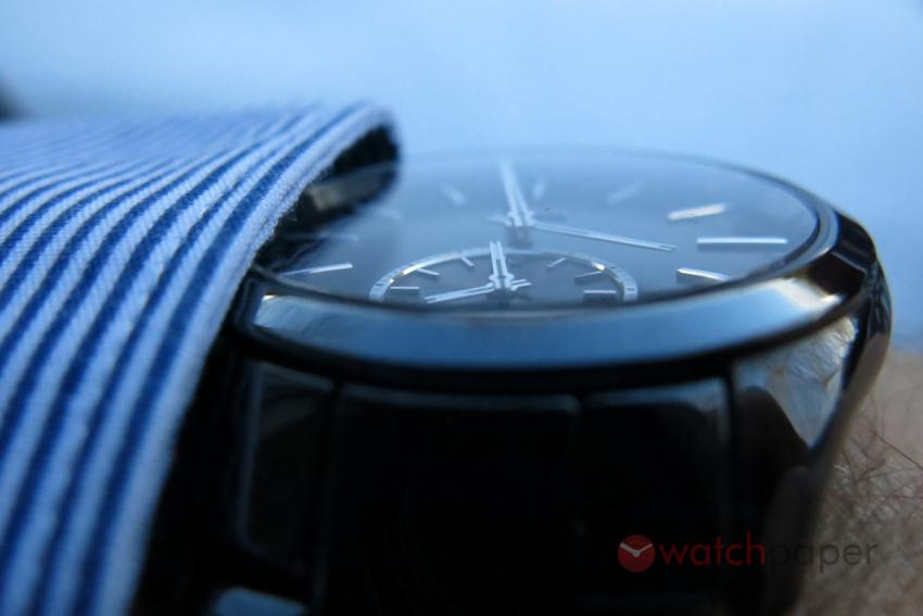 The domed crystal of the Rado HyperChrome Touch Dual Timer