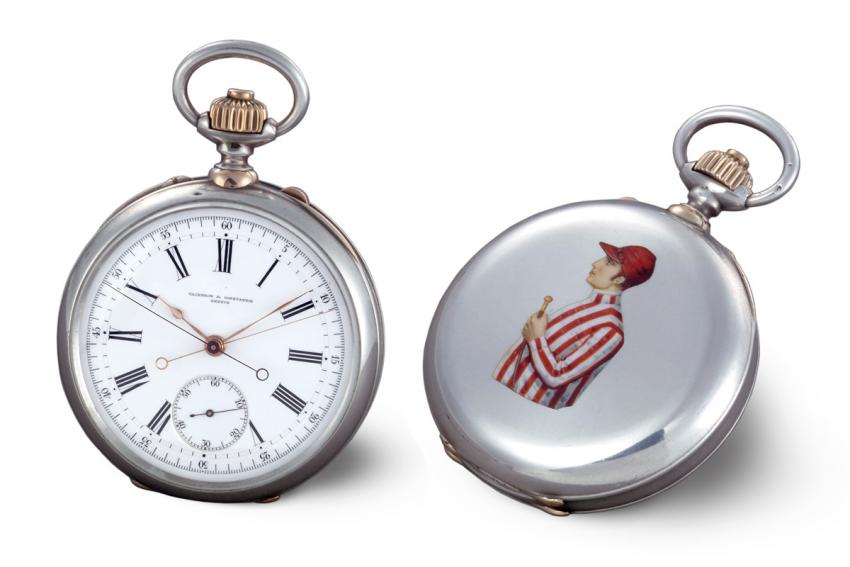 Vacheron Constantin split-seconds chronograph from 1889. Silver and red gold, enameled coat of arms on the case back. Chronograph push-piece in the crown and split push-piece on the case band.
