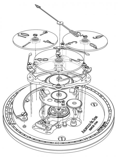 An exploded view of the Arnold & Son Golden Wheel.
