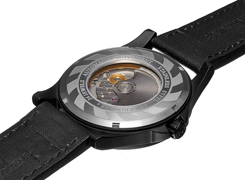 The back of the Melbourne Watch Co. Avalon decorated with a stylized jet turbine blades.