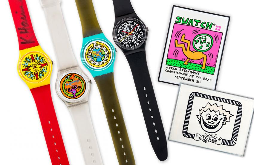 Swatch Keith Haring Set, launched in 1986, including the Modele Avec Personnages, Serpent, Milles Pattes and Blanc sur Noir.