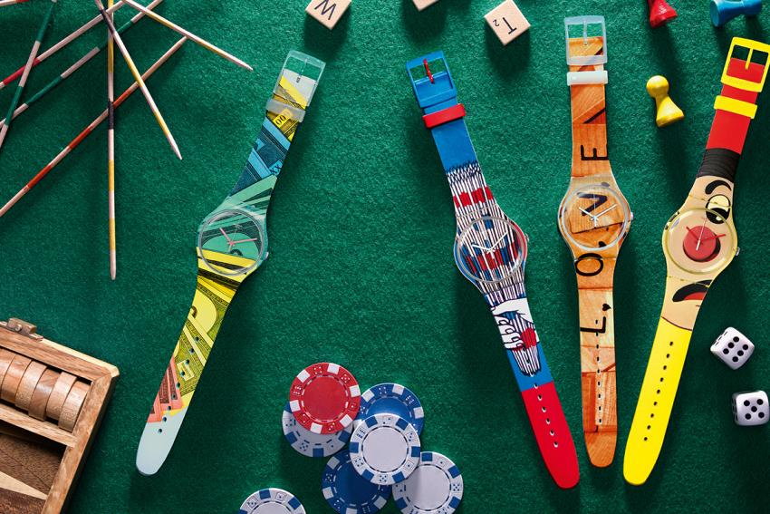 With IN THE PLAYROOM Swatch invites you to go back to the happy times of childhood, when you were playing Scrabble, Mikado, Operation of Monopoly.