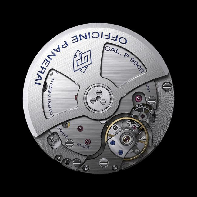 The P.9000 automatic caliber is 7.9 mm thick, with 28 jewels, beating at 28,800 alternations/hour.