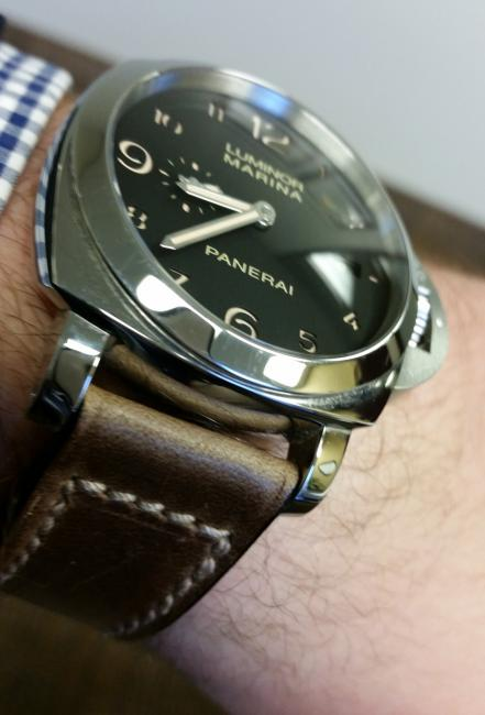 Panerai Luminor Marina 1950 3 Days Automatic Acciaio PAM00359 on a Greg Stevens Design strap.