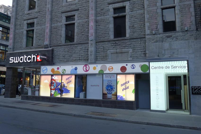 Swatch Group's Montreal Customer Service Center on de la Montagne, near the corner with St-Catherine.
