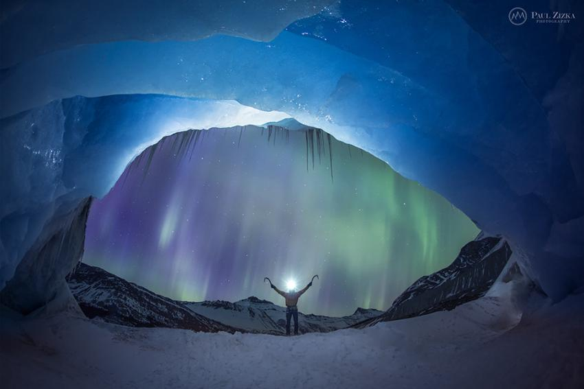 Aurora ice climbing, Athabasca Glacier, Jasper National Park, Alberta. Photo courtesy of Paul Zizka
