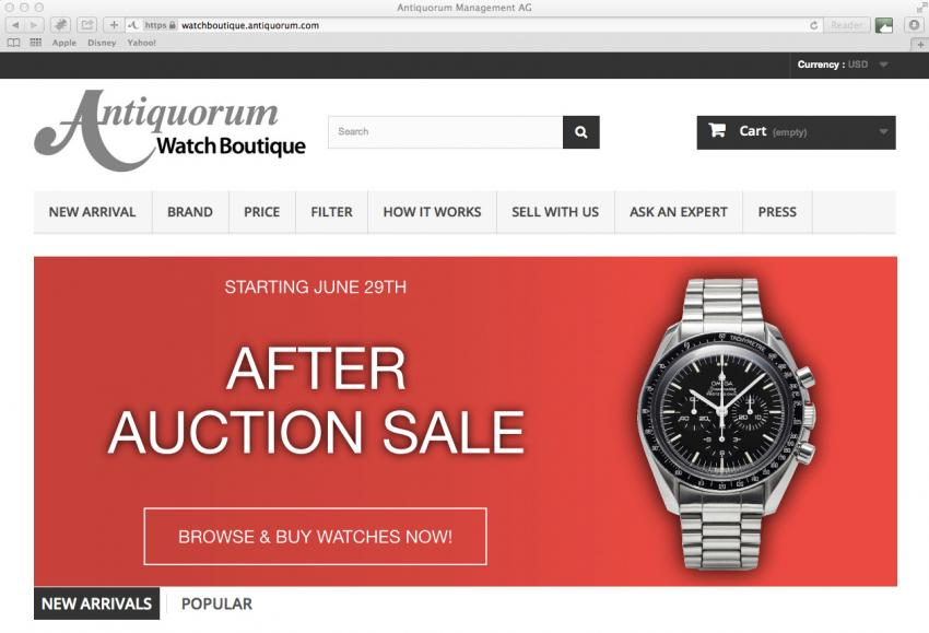 Screenshot of the Antiquorum online Watch Boutique