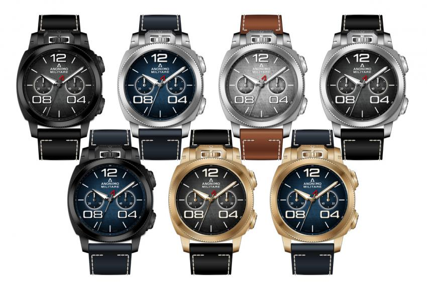 The entire lineup of the new Anonimo Militare Classic Chrono