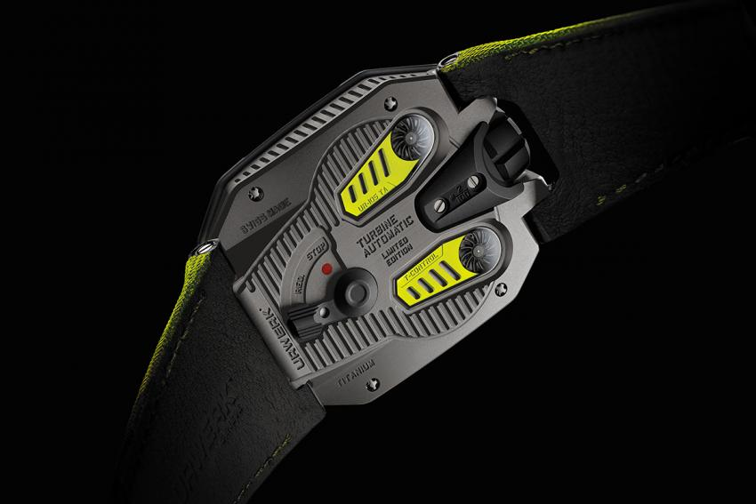 """The back of the UR-105 TA """"Black Lemon"""" unveils the dual air turbines that regulate the automatic winding."""
