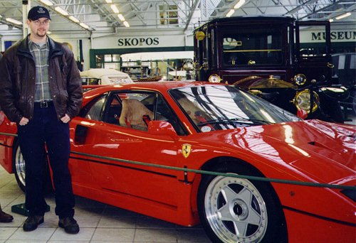 Me in 1998, visiting a car museum and standing beside my all time dream car, the Ferrari F40