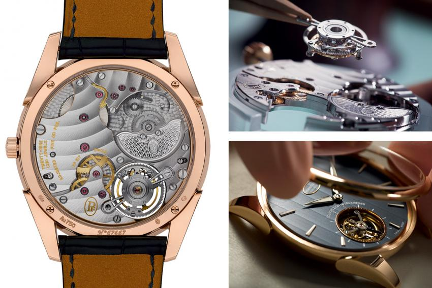 The beautifully decorated PF517 movement and a couple of making-of pictures.
