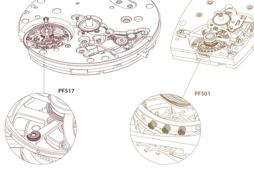 The tourbillon cage of the PF517 is equipped with a variable inertia balance instead of a screw balance.