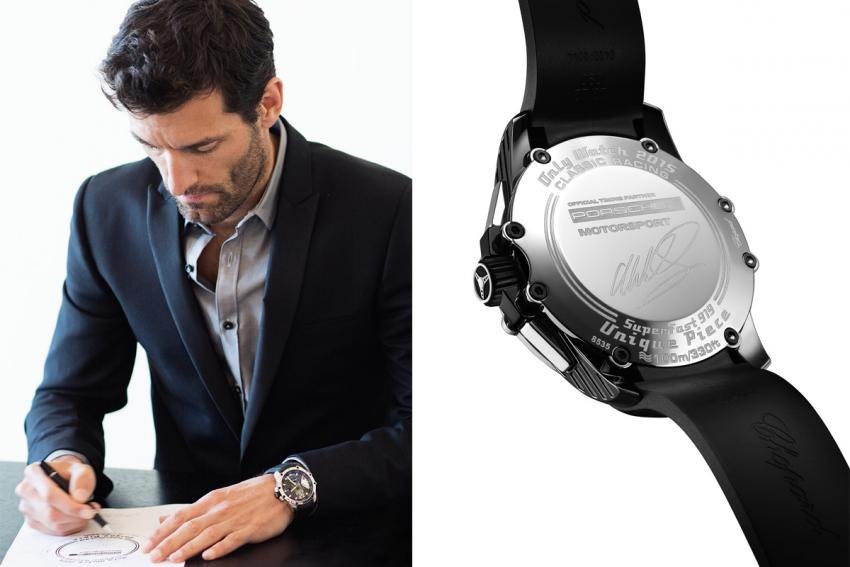 The back of the Chopard Superfast Chrono Porsche 919 Only Watch 2015 bears the signature of racing champion Mark Webber.