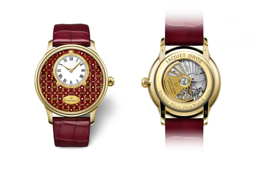 The front and the back of the Jaquet Droz Petite Heure Minute