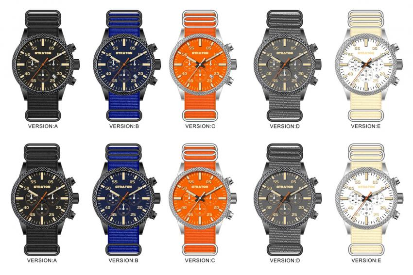 The different colour choices for the Straton Vintage Driver Chrono (date and no date)