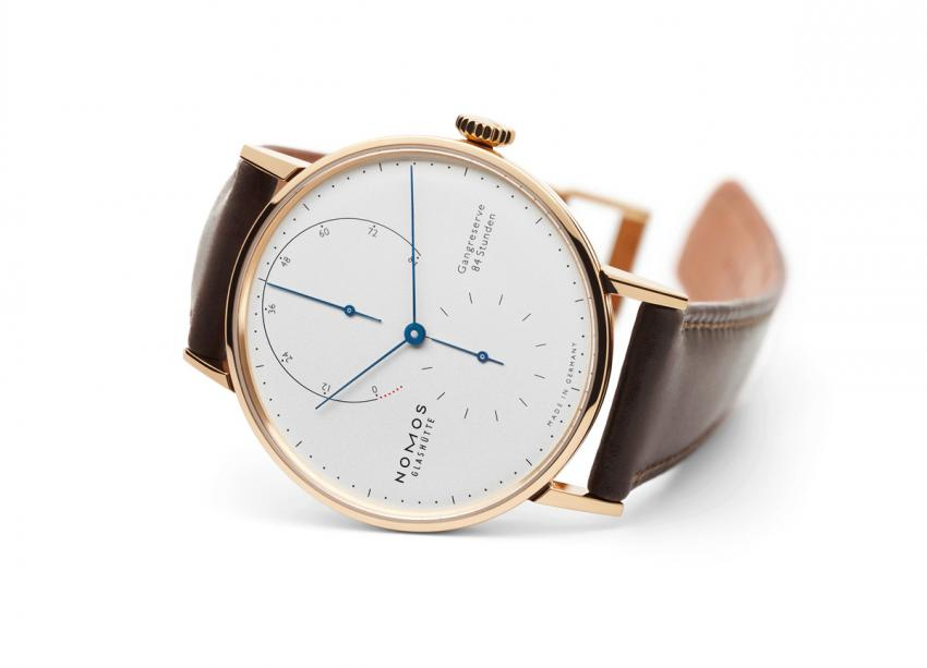 Nomos Lambda 39 with tempered blue hands Ref. number 953