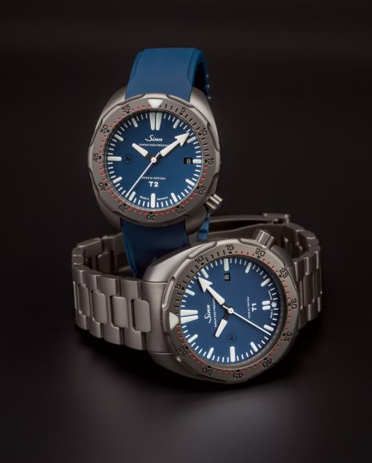 The new Sinn T2 B (standing) and the bigger T1 B