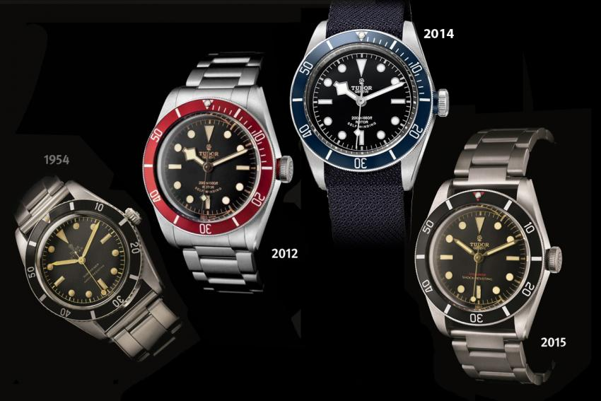 Tudor reference 7923 from the mid-50s and the Heritage Black Bay models that followed it.