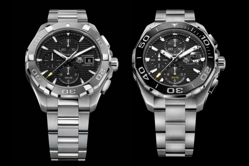 Two versions of the TAG Heuer Aquaracer 300M (43 mm) Calibre 16 chronograph.