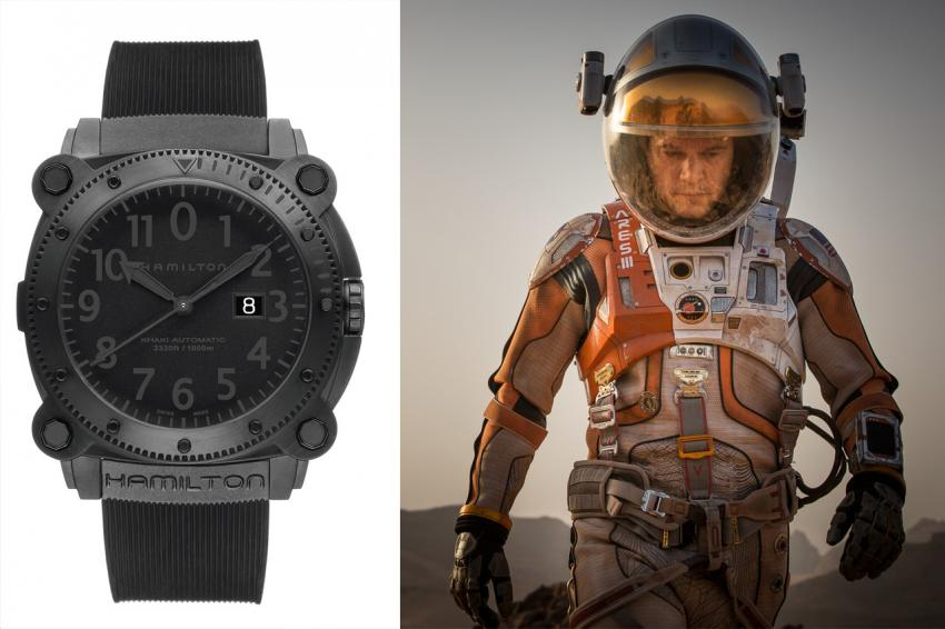 Several Hamilton watches will be featured in the upcoming science fiction movie, The Martian. The main character, played by Matt Damon, wears a Khaki Navy Belowzero 1000m auto.