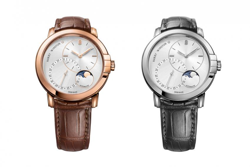 Harry Winston Midnight Date Moonphase Automatic 42mm is offered in 18-carat rose gold or white gold
