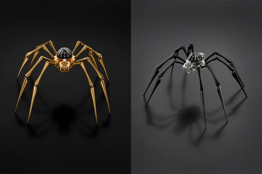 Arachnophobia is available in 18k yellow gold-plated (bras) or black (aluminium) editions.