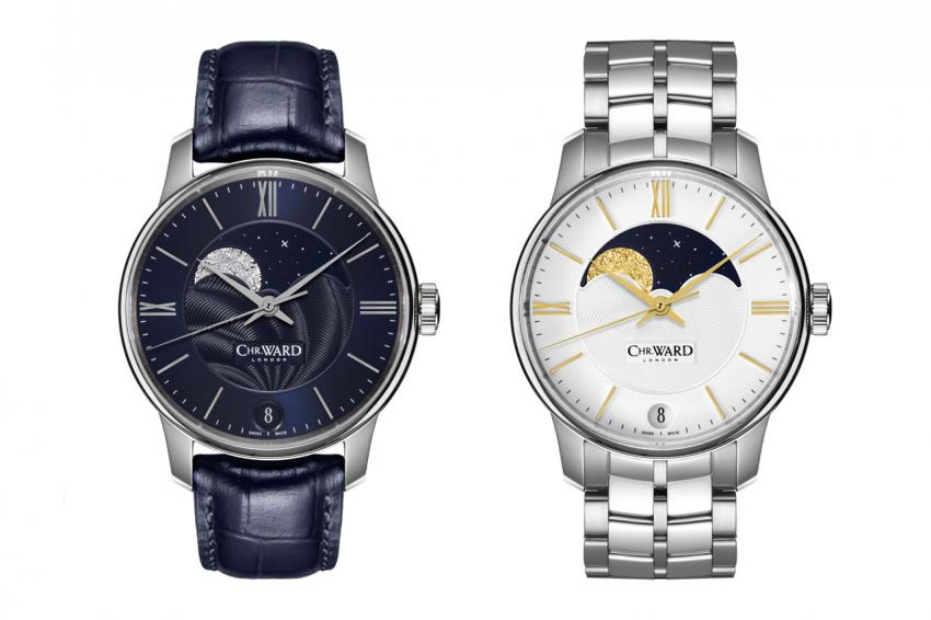 The 40 mm C9 Moonphase comes in two colours, white and gold, or midnight blue and silver.