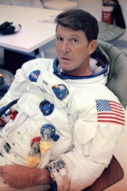 Apollo 7 commander Wally Schirra prepares to enter the attitude chamber during training. July 26, 1968. He wears his Speedmaster on a pre-flight watchband (Apollo 7).