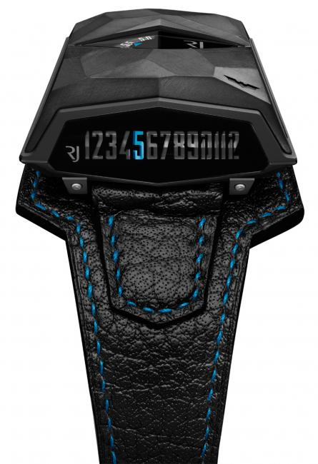 A side view revealing the linear hour display of the RJ-Romain Jerome Spacecraft: Batman