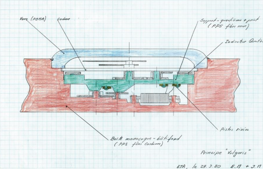 "The very first sketch of the ground-breaking Swatch case, named ""Vulgaris"". The drawing marks the launch of the whole project on March 27, 1980."
