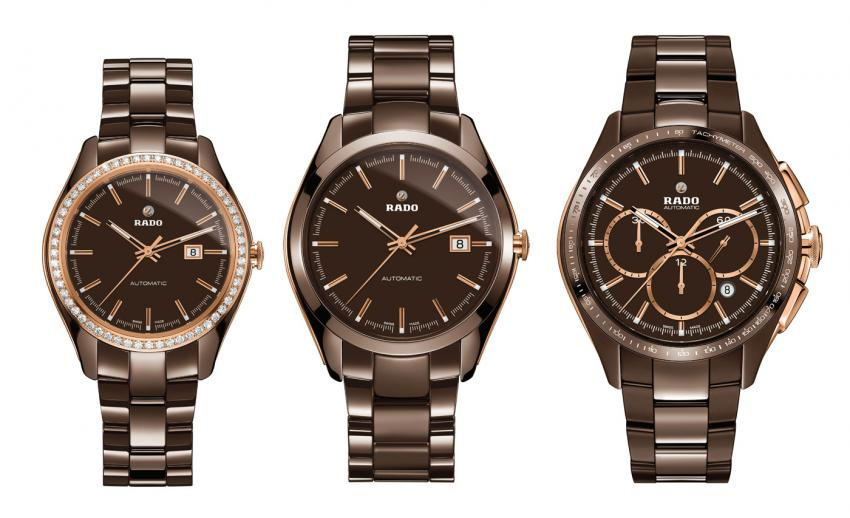The new brown ceramic Rado HyperChrome collection: the Limited Edition Rado HyperChrome Automatic Diamonds, the Rado HyperChrome Automatic, and the Limited Edition Rado HyperChrome Automatic Chronograph Tachymeter.