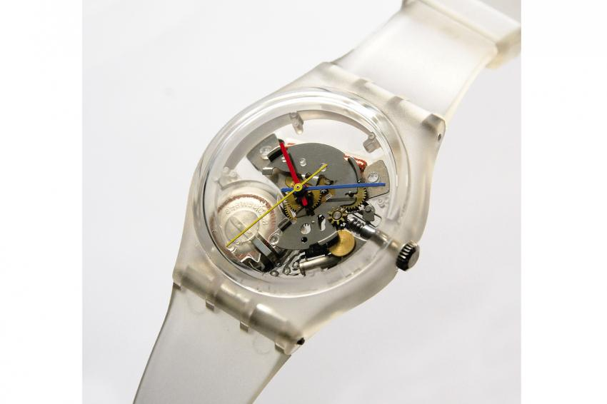 "Early 1983 saw the birth of ""The Original Jelly Fish"" (ref. GK100 SP) – the first transparent watch by Swatch. Designed by Marlyse Schmid, it was launched in a limited edition of 200 pieces. This was the first ""Special Model"" introduced by Swatch."