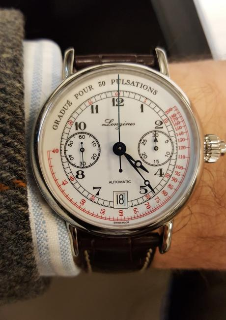 The Longines Pulsometer Chronograph on the author's wrist.