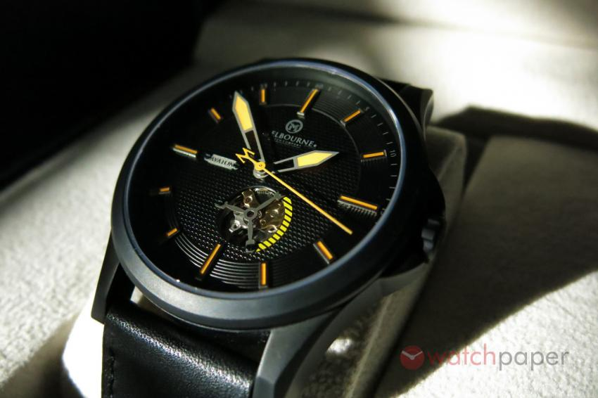 The sun will reveal the sophisticated decoration of the black dial.