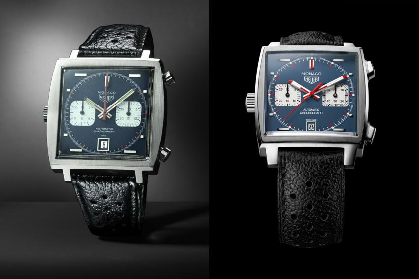 Side-by-side the original Heuer Monaco 1969 and the 2015 Monaco Calibre 11 Chronograph