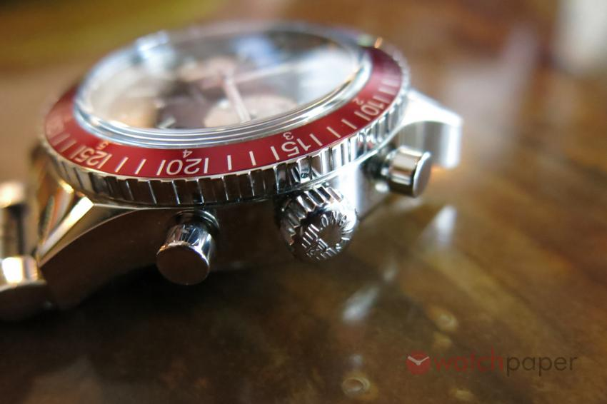 A profile view of Longines Heritage Diver 1967 (L2.808.4.52.6)
