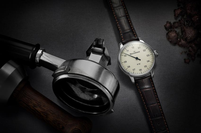 MeisterSinger No.1 on a croco print strap. Photo by MeisterSinger