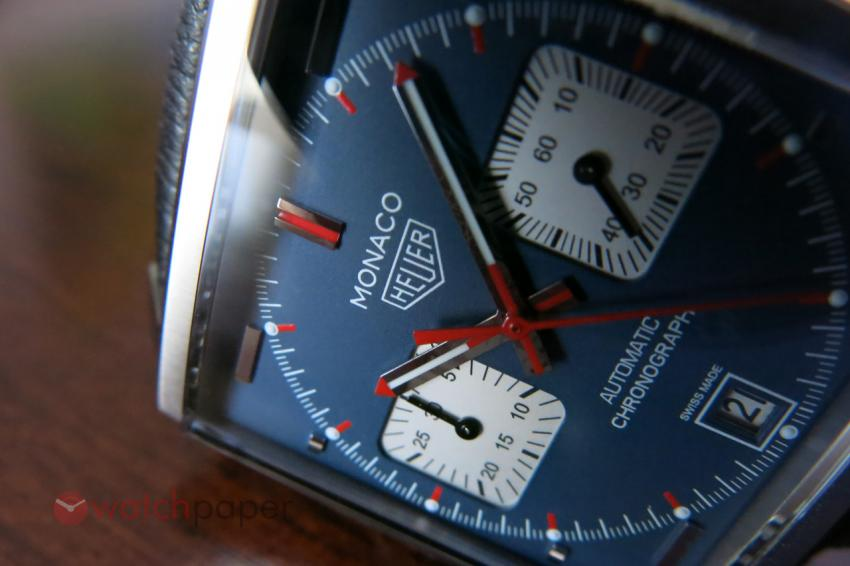 A closer look at the petroleum blue dial of the TAG Heuer Monaco Calibre 11 CAW211P