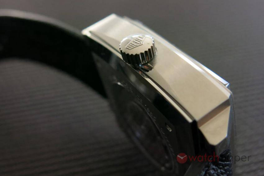A profile view of the TAG Heuer Monaco Calibre 11 CAW211P