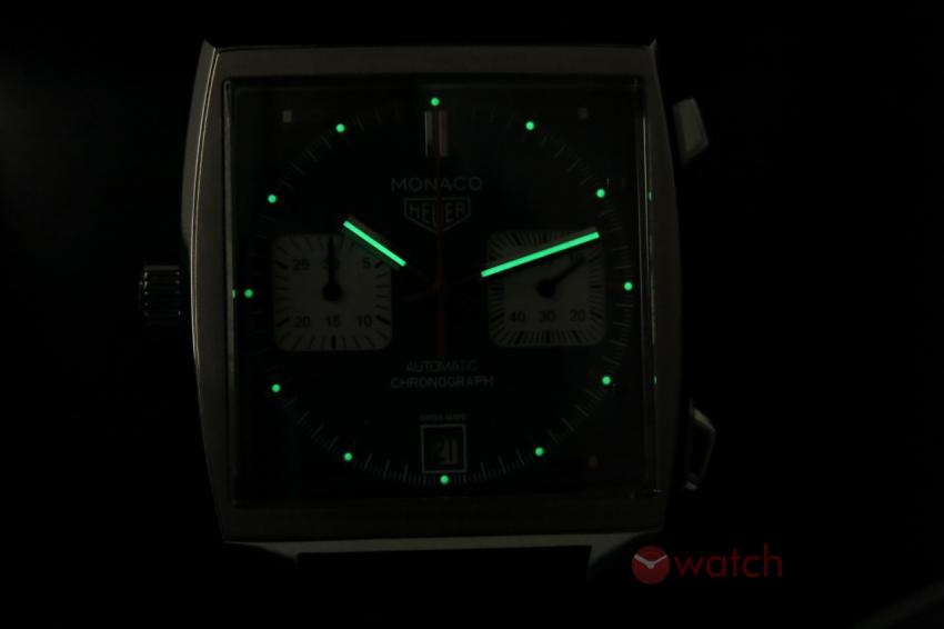 Lume shot of the TAG Heuer Monaco Calibre 11 CAW211P