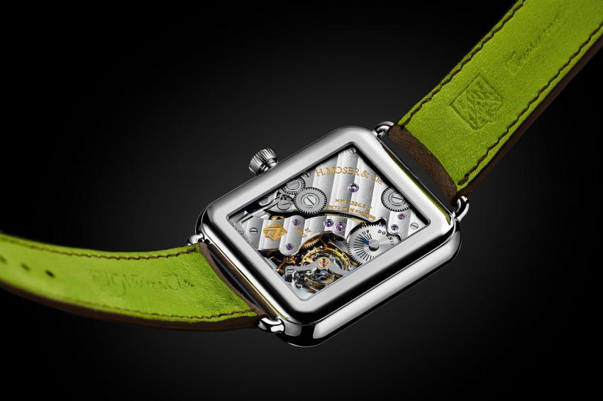 The back of the H. Moser & Cie Swiss Alp Watch