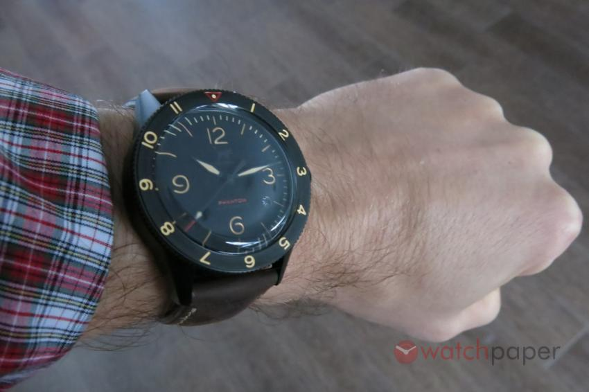 Wristshot with the Lew & Huey Phantom A Black with date.