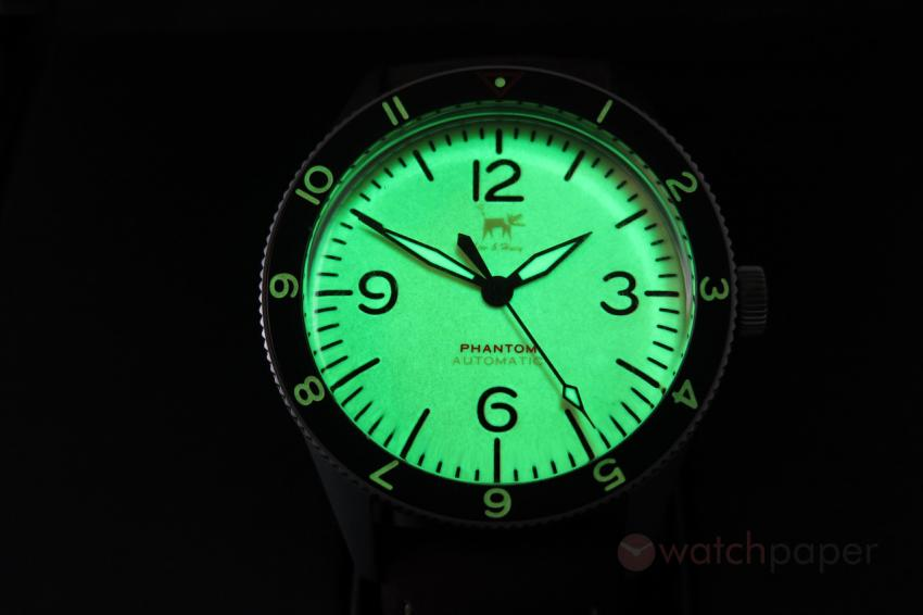 The full lume dial of the Lew & Huey Phantom A Khaki.