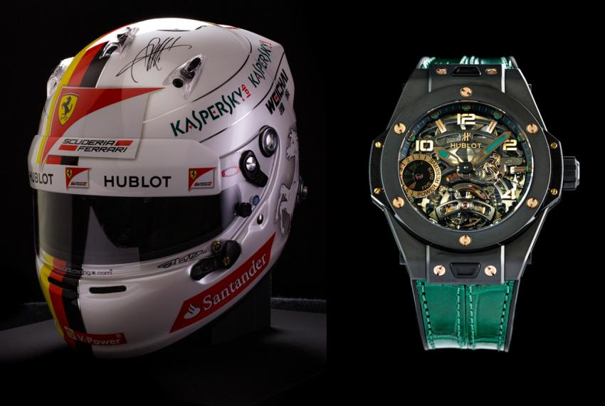 The replica of the helmet worn by Sebastian Vettel and an original Big Bang Ferrari Tourbillon Mexico