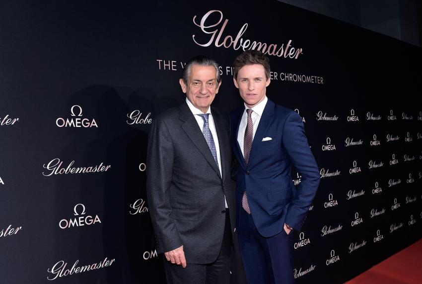 Stephen Urquhart, president of OMEGA and Eddie Redmayne
