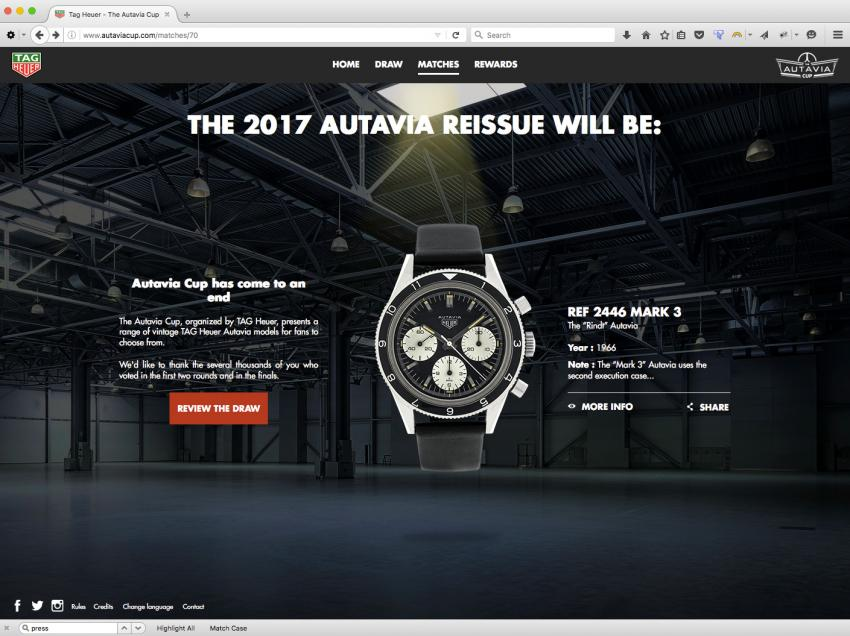 "In 2017, TAG Heuer will reissue the 1966 Autavia ""Rindt"" Reference 2446 Mark 3 featuring a black dial with white registers."